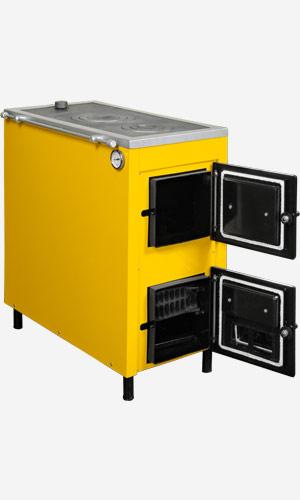 """Комбинированный котел  """"Данко АКТВ-20 """" со стальным теплообменником и чугунной плитой."""